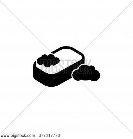 Shower Washing Sponge, Bath Washcloth. Flat Vector Icon Illustration. Simple Black Symbol On White B