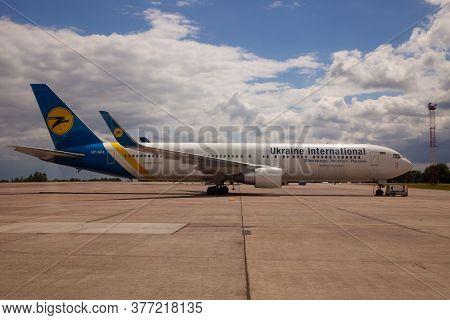 Ukraine, Kyiv - July 8, 2020: Plane Boeing 767-322 Er Ur-gea Ukraine International Airlines. Passeng