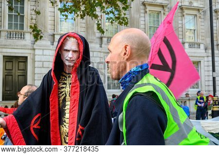 London - October 18, 2019: An Extinction Rebellion Protester In Costume