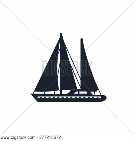 Sailboat With Canvas Or Fiberglass Cloth Isolated. Vector Fishing Boat With Sails And Flag