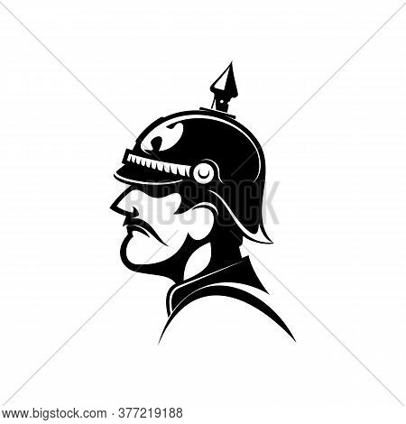 Brave General Of Prussian Army In Spiked Helmet Isolated Side View Head. Vector Retro Soldier Comman