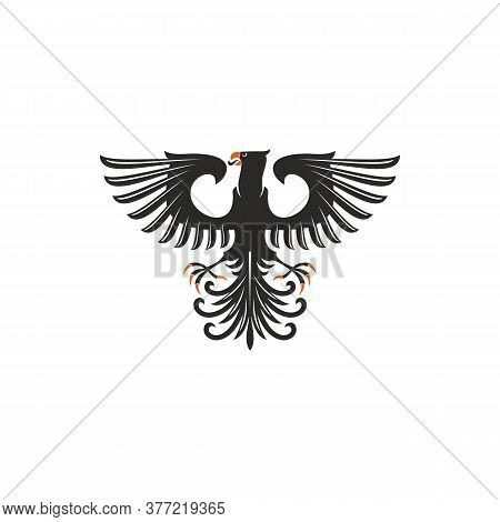 Heraldic Eagle Isolated Bird With Open Wings. Vector Black Falcon Or Hawk With Spread Feather Tail