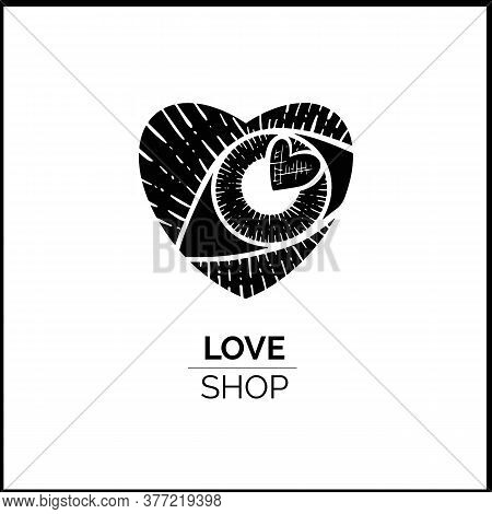 Vector Logo Eyes With A Heart Inside Great For Eyelash Extension Salon And Romantic Shops.