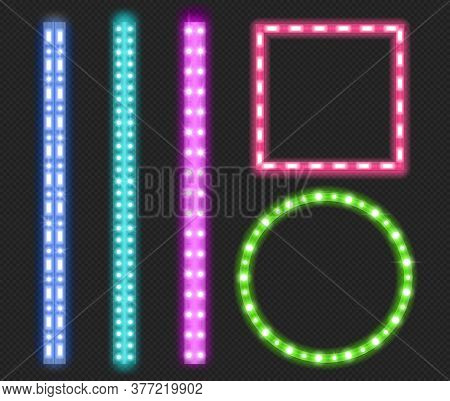 Led Strips, Neon Light Glowing Luminescence Decorative Tape Borders, Green, Blue, Pink And Purple Ri