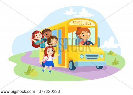 Schoolkids Characters Enter Yellow School Bus With Driver Girl Inside. Kids With Backpack Waving Han