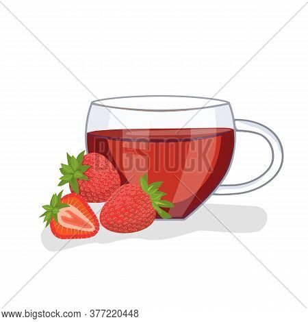 Tea With Strawberries In A Glass Cup, Strawberries Lie Nearby. Vector Illustration