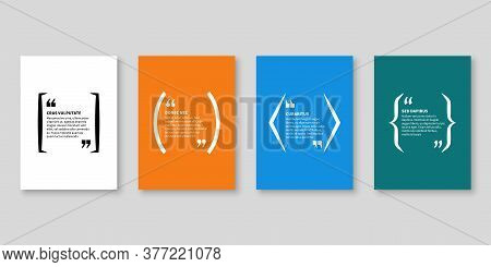 Quote Frames. Textbox, Bubble Shape With Quotation For Blog Memo Phrase And Title Message With Copy