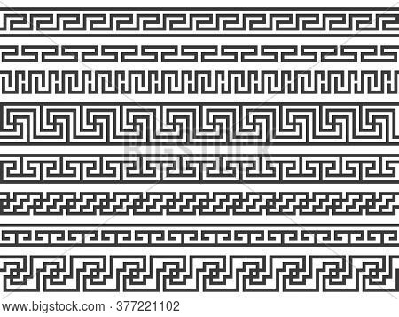 Greek Borders. Ancient Roman Or Grecian Geometric Black Frame Decoration, Mediterranean Classic Anti