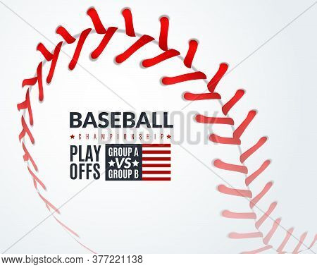 Baseball Poster. Promotion Flyer With Softball Ball With Red Lace Stitches, Professional Sport Club