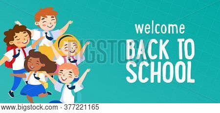 Welcome Back To School Concept. Schoolboys And Schoolgirls Characters Wearing Uniform And Backpacks
