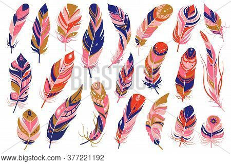 Tribal Feathers. Decorative Ethnic Stylize Feather Ornamental Indian Aztec Design, Colored Boho Hipp