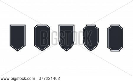 Set Of Shield Emblem In Dark Style. Protection Badge Label. Security Shield Silhouette. Defence Badg