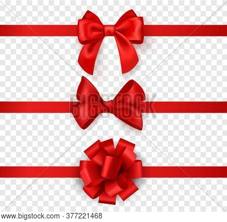 Gift Bows With Ribbons. Horizontal Silk Red Ribbon With Decorative Bow, Realistic Luxury Festive Sat