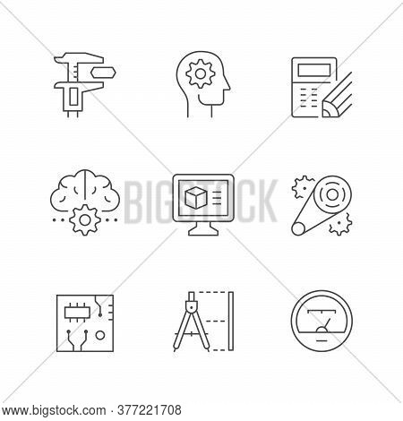 Set Line Icons Of Engineering Isolated On White. Caliper, Engineer, Calculating, Technology Brain, 3