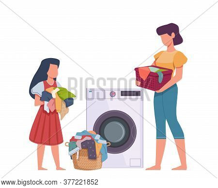 Family In Laundry. Mother And Daughter Loading Dresses In Washing Machine, Heap Apparel With Stains,