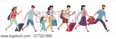 Running Tourists. People With Baggage Hurry To Flight, Travelers In Airport Waiting Plane Departure,