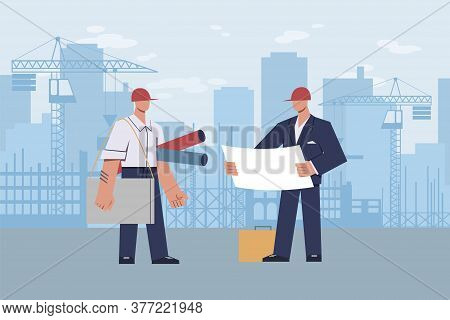 Architect At Construction Site. Master Foreman With Helmet On His Head With Diagram In Hands During