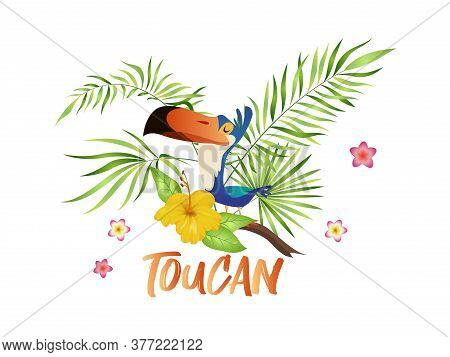 Cute Toucan Cartoon. Bird With Tropical Branch And Leaves, Colorful Exotic Character Sitting On Palm