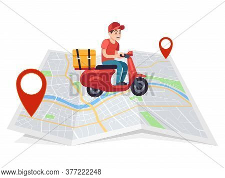 Express Delivery. Motorcyclist Courier On Moped With Box On City Map, Fast Male Character On Motorcy