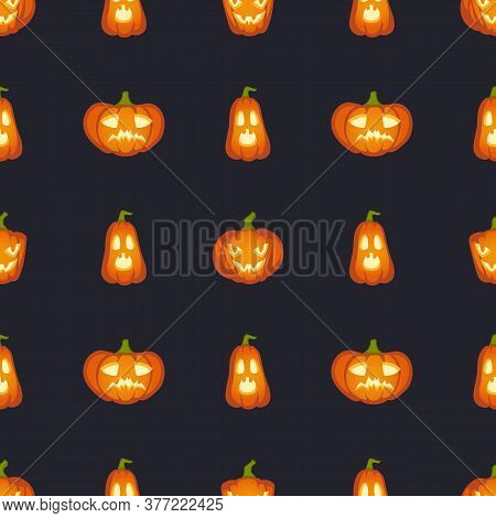 Pumpkins Are Scary Face. Halloween Abstract Seamless Pattern, Orange Pumpkin With Scary Terrible Hea