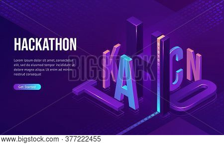 Hackathon Isometric Landing Page. 3d Typography With Binary Code On Purple Neon Colored Background.