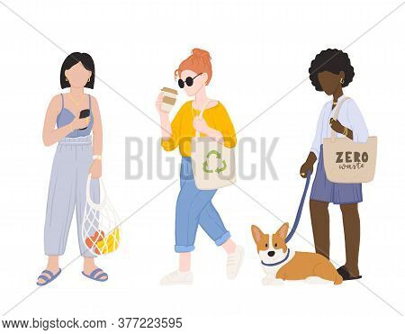 Zero Waste Life Style. Cartoon Women With Natural Eco Products In Linen Bag And A String Bag, Shoppi