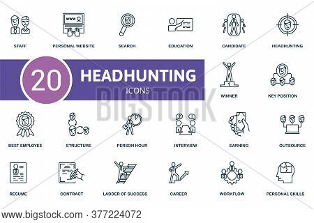 Headhunting Icon Set. Collection Contain Resume, Candidate, Staff, Ladder Of Success And Over Icons.