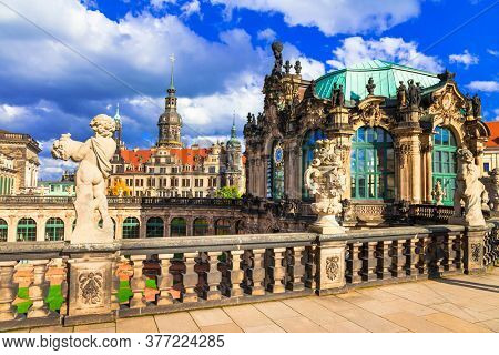 Famous Zwinger museum and Gallery in Dresden - one of the most magnificent Baroque buildings in Germany.
