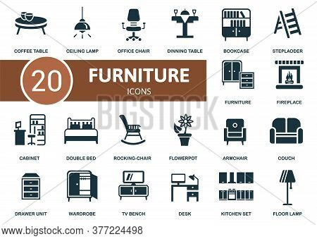Furniture Icon Set. Collection Contain Office Chair, Bookcase, Couch, Double Bed And Over Icons. Fur