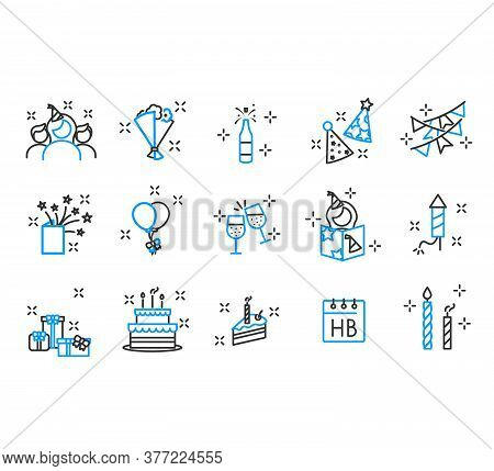 Birthday Cake Icon Outlined Line Vector. Simple Set Of Night Party Modern Thin Line Icons. Trendy De