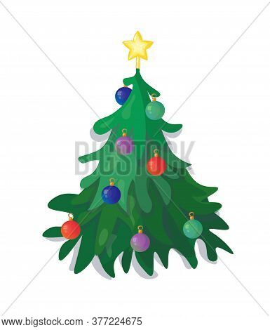 Decorated Cristmas Tree With Baubles And A Star. Vector Illustration.