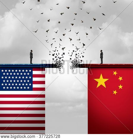 China Us Conflict And Usa Or United States Trade And American Tariffs Conflict With Two Opposing Tra