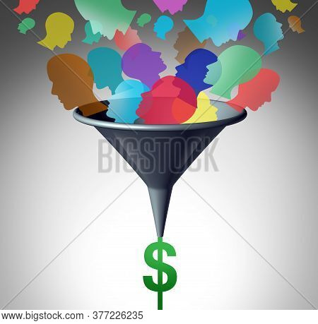 Sales Funnel Internet Business Strategy As Online Marketing For Selling  To Customers On The Web And