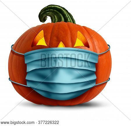 Halloween Face Mask As A Jack O Lantern Pumpkin Wearing A Medical Face Mask As An Autumn Symbol For