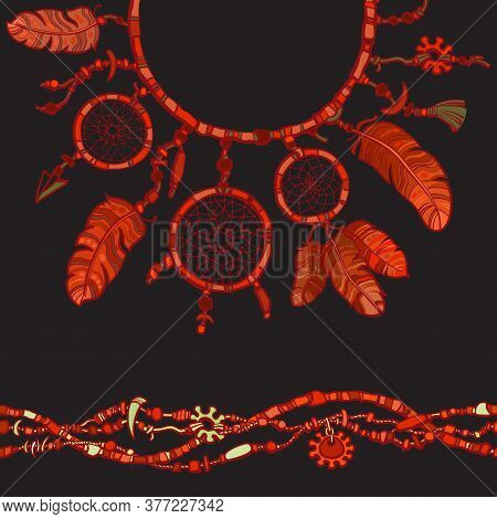 Dream Catcher. Seamless Border Made From Beads. Boho Style Decoration