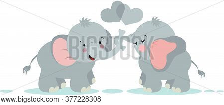 Scalable Vectorial Representing A Couple Of Elephants On Love, Element For Design, Illustration Isol