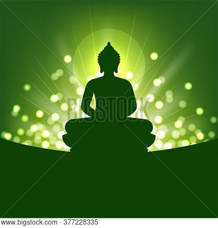 Buddha Silhouette And Abstract Light On Green Background For Buddhism
