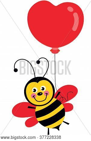 Scalable Vectorial Representing A Cute Bee Flying With Heart Red Balloon, Element For Design, Illust