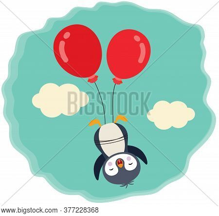 Scalable Vectorial Representing A Cute Penguin Flying With Two Red Balloons In Sky With Clouds, Blue