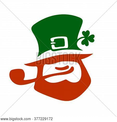 Happy Saint Patricks Day Card With Text, Leprechaun Face And Two Leaves Of Clover. Hand Drawn Vector