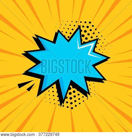 Comic Speech Bubble With Halftone Dot Shadow On Yellow Background In Pop Art Style. Vector Illustrat