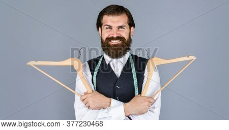 He Is So Happy. Handsome Man In Formal Vest. Wardrobe For Business Fashion. Clothing And Shopping. F