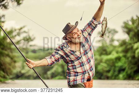 Pensioner Leisure. Fish On Hook. Man Senior Fisherman. Fisherman Fishing Equipment. Fisherman Alone