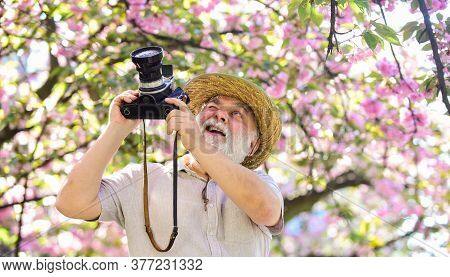 Senior Man Hold Professional Camera. Photography Courses. Happy Grandfather. Travel And Tourism. Spr