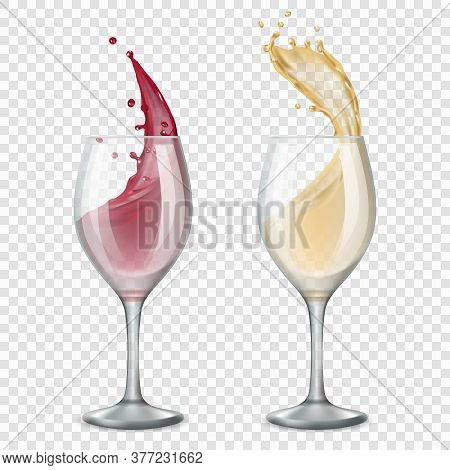Glass Wine. Alcoholic Drinks Splashes Flowing Red And White Drops Vector Realistic Illustrations. Wi
