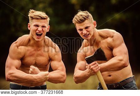 Strength And Perseverance. Handsome Brothers. Strong Men Nature Background. Group Muscular Men With