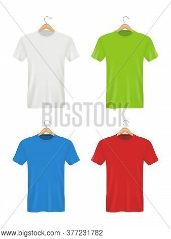 Shirt On Hanger. Colored Blank Clothes For Adults Male And Female Polo T-shirts. Vector Realistic Em