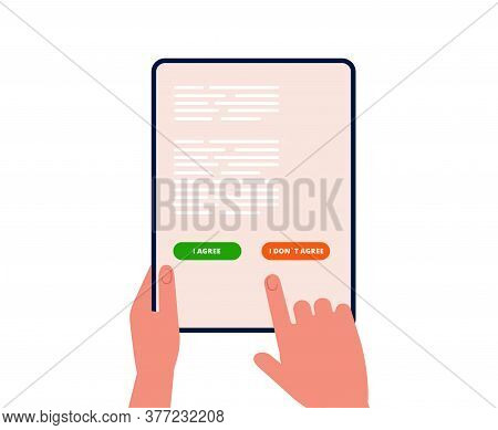 Electronic Agreement. Man Chooses Agree Disagree On Tablet Screen. Online Business, Purchase Or Regi