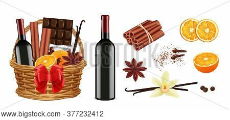Mulled Wine Pack. Realistic Christmas Basket With Wine Cinnamon Vanilla Oranges. Isolated Holiday Gi