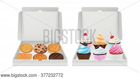 Realistic Cupcakes And Cookies. Biscuits Muffins Packaging, Creamy And Chocolate Bakery Products In